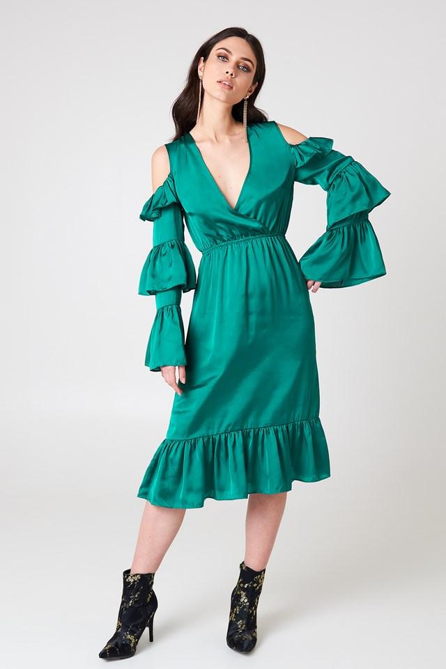 Cold Shoulder Ruffle Midi Dress Emerald Green