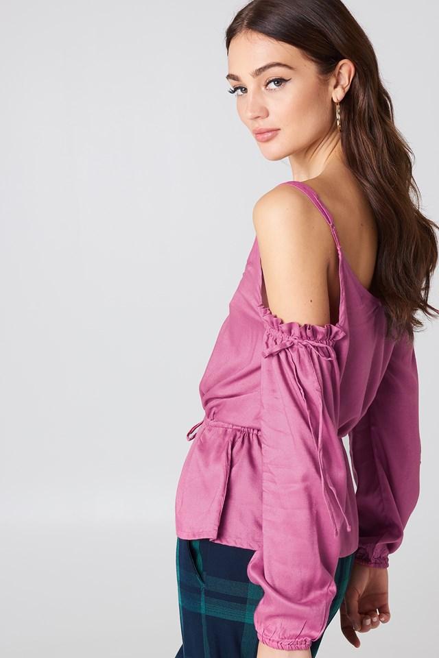Cold Shoulder Tie Waist Top Pink Rose