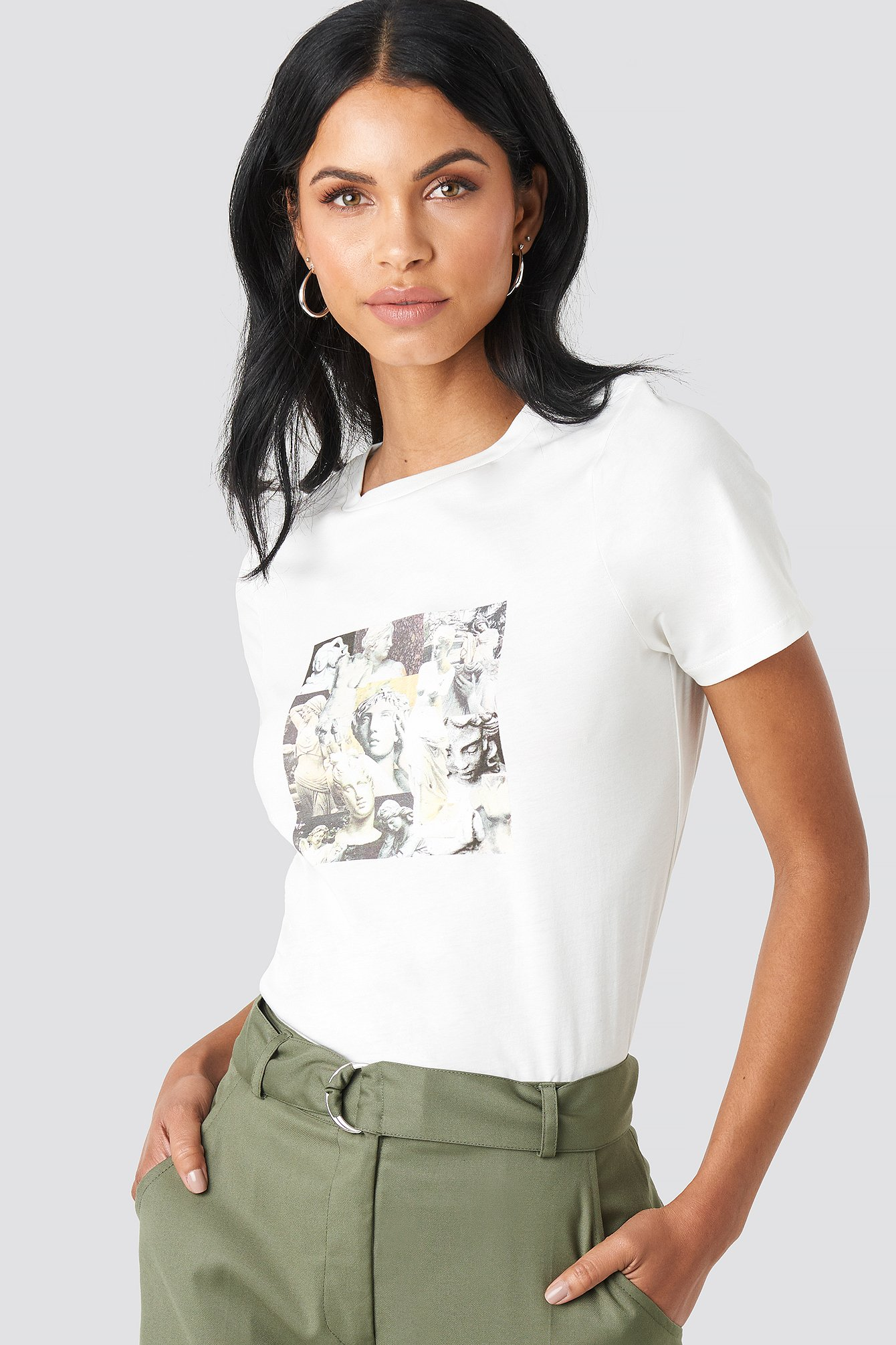 na-kd -  Collage T-shirt - White