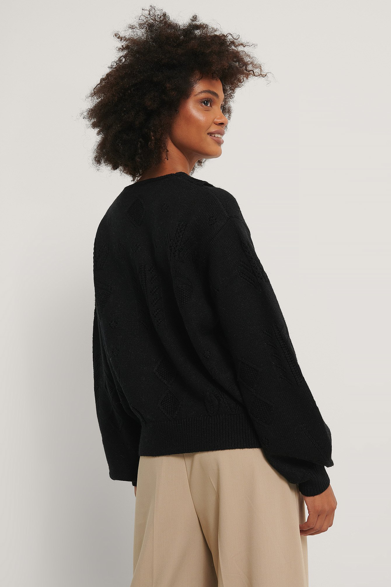 Black Collar Detail Knitted Sweater