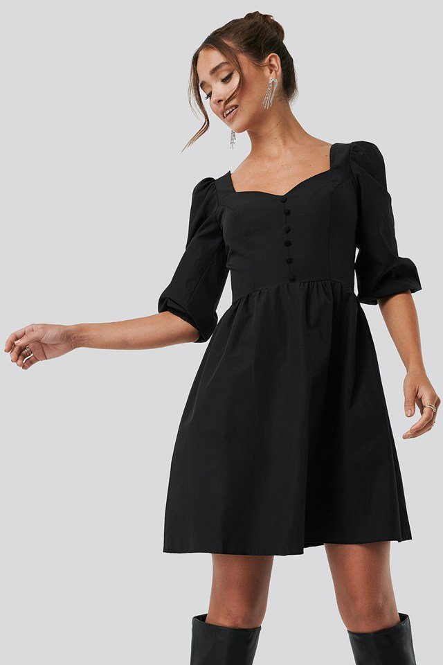 Collar Detailed Mini Dress Black