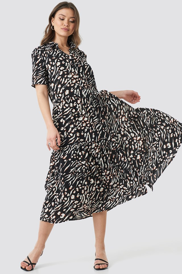 Collar Printed Midi Dress Black Combo