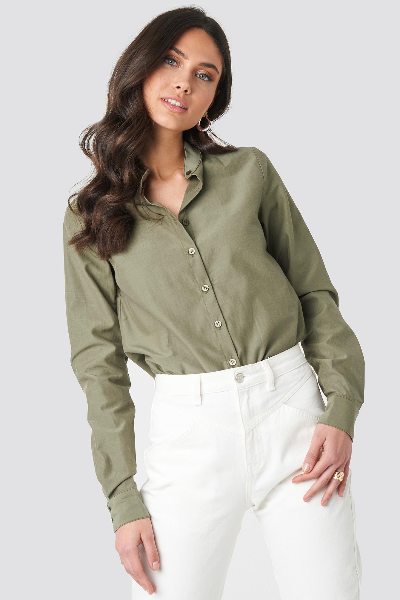 Collar Stand Long Sleeve Shirt NA-KD.COM