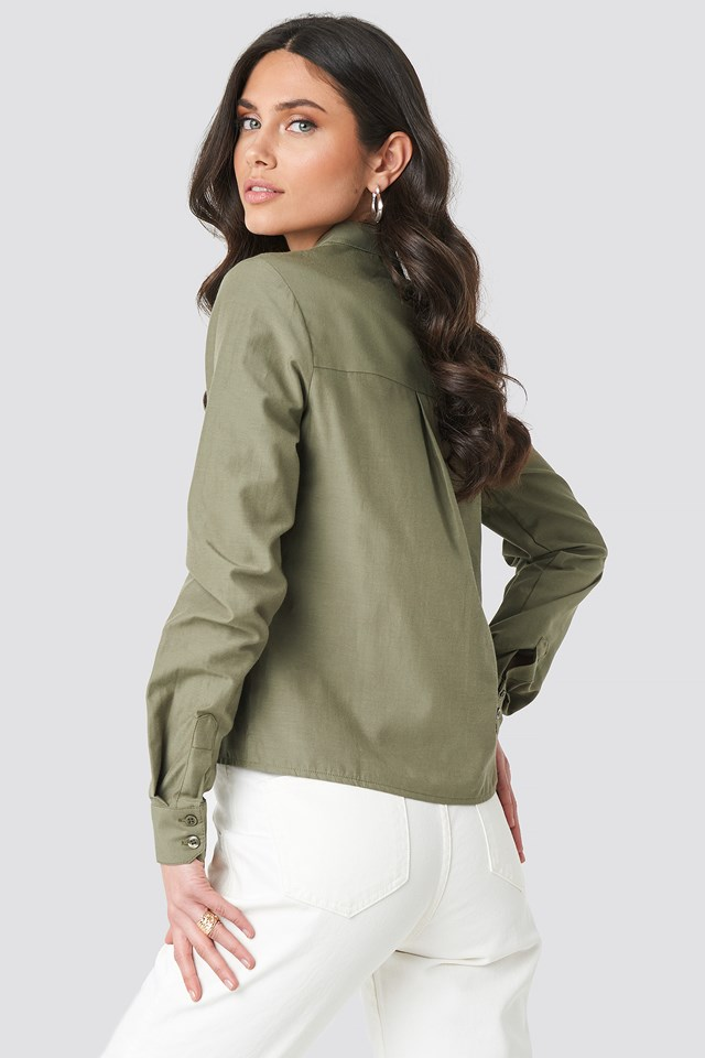 Collar Stand Long Sleeve Shirt Khaki Green