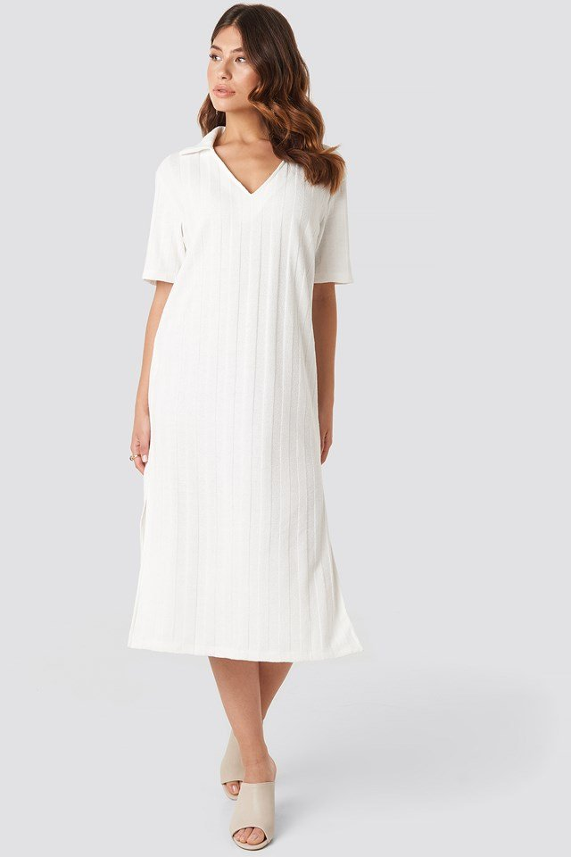 Collar V Front Knitted Dress NA-KD Trend
