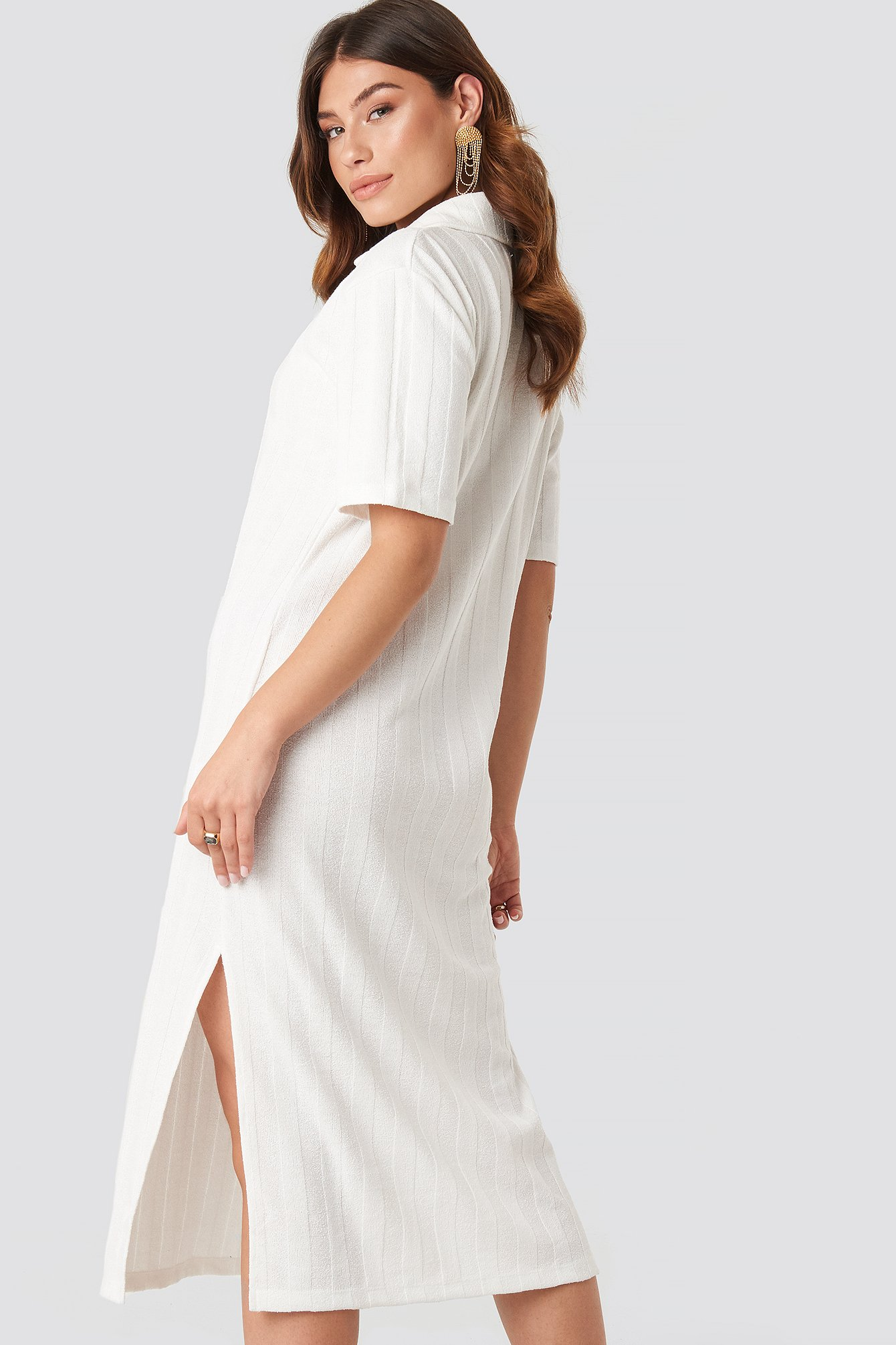 Offwhite Collar V Front Knitted Dress