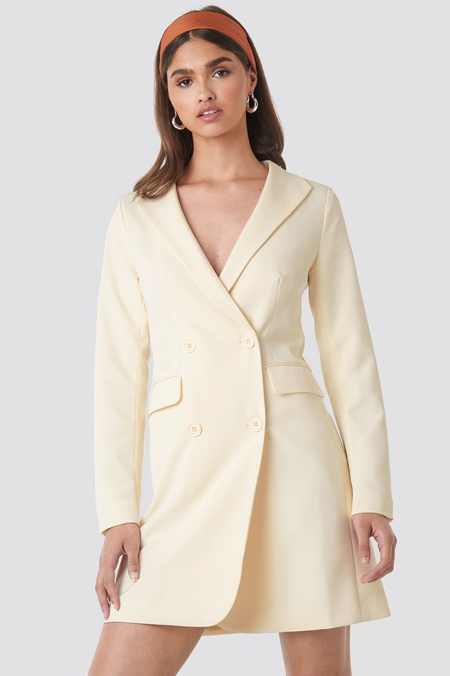 Collared Blazer Dress Off White