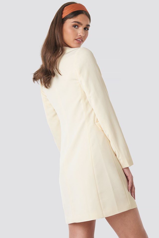 Collared Blazer Dress Off White