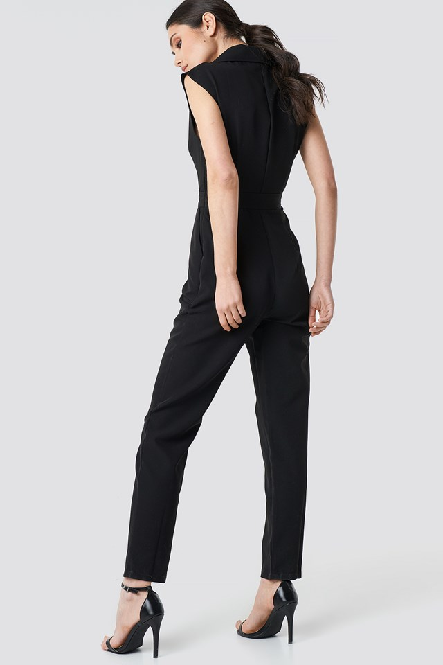 Collared Waistband Jumpsuit Black