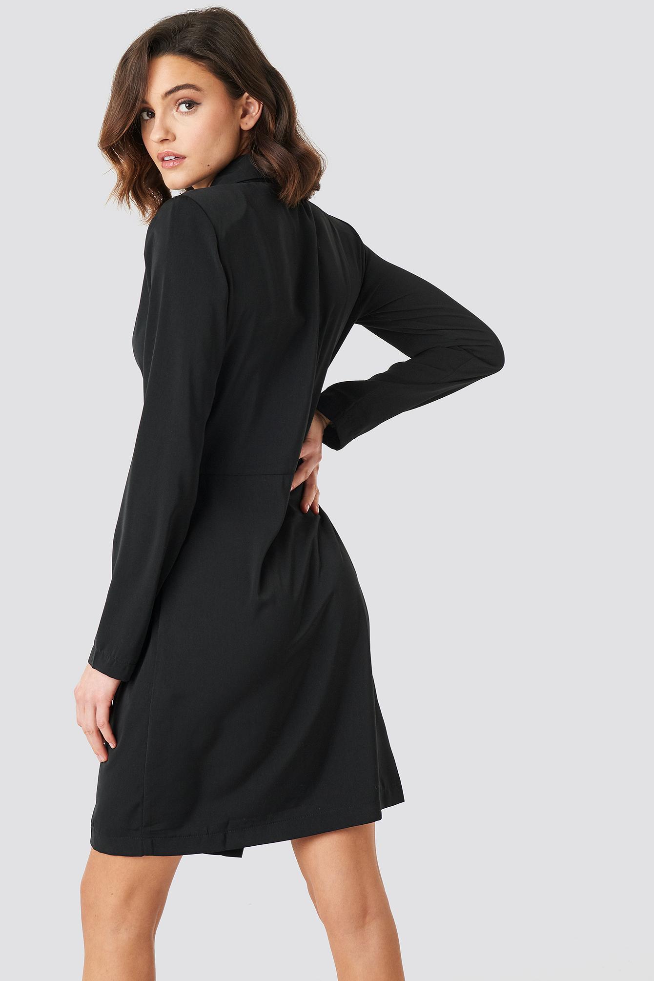 Collared Wrap Over Midi Dress NA-KD.COM