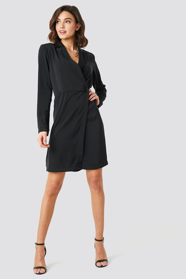 Collared Wrap Over Midi Dress Black