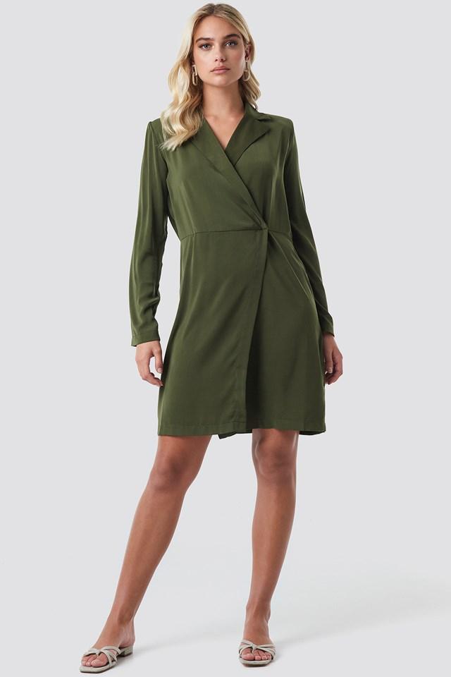 Collared Wrap Over Midi Dress Khaki Green