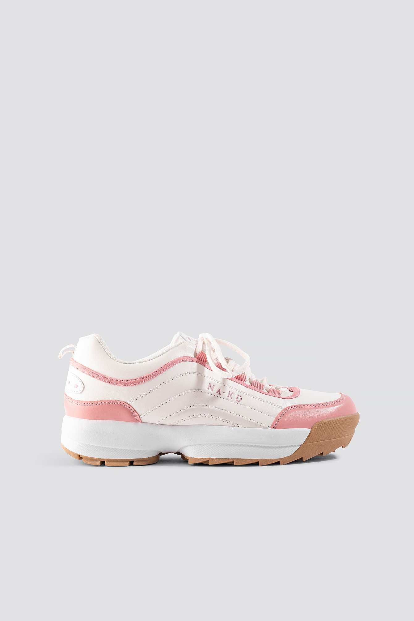 na-kd shoes -  Color Block Sneakers - Pink,White
