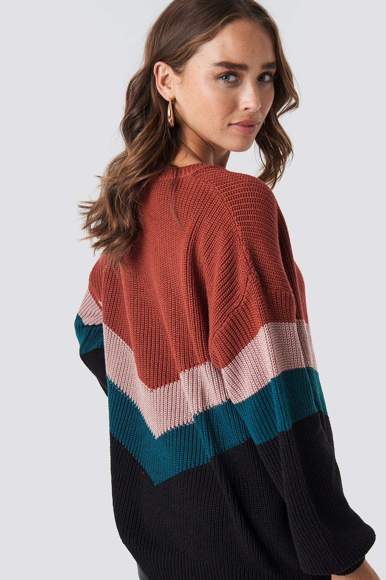 Color Blocked Balloon Sleeve Knitted Sweater NA-KD.COM