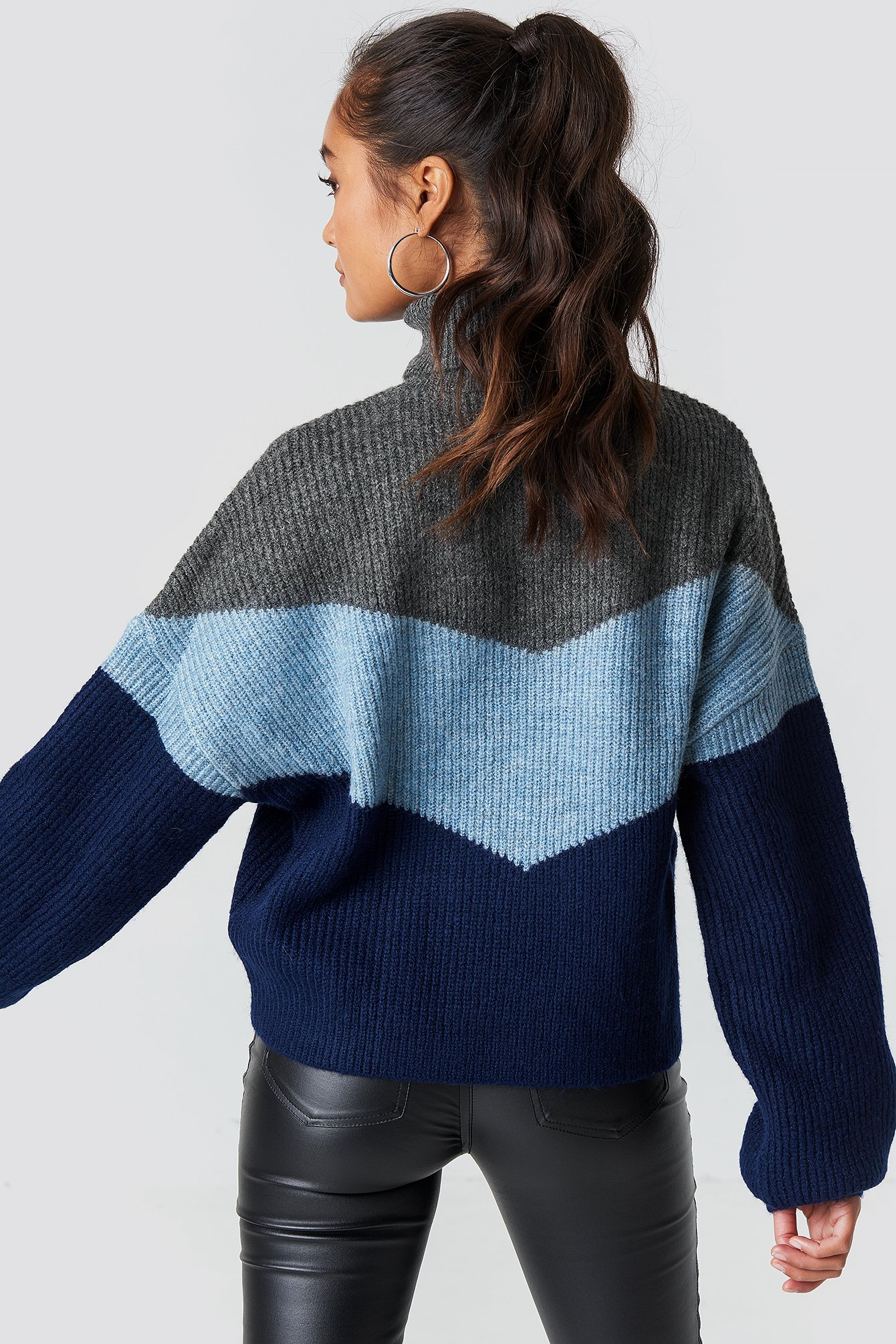 Color Blocked Turtleneck Knitted Sweater NA-KD.COM