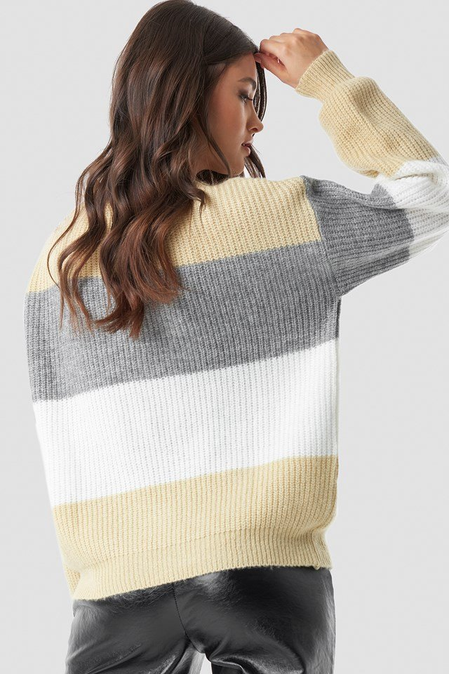 Color Striped Balloon Sleeve Knitted Sweater Yellow