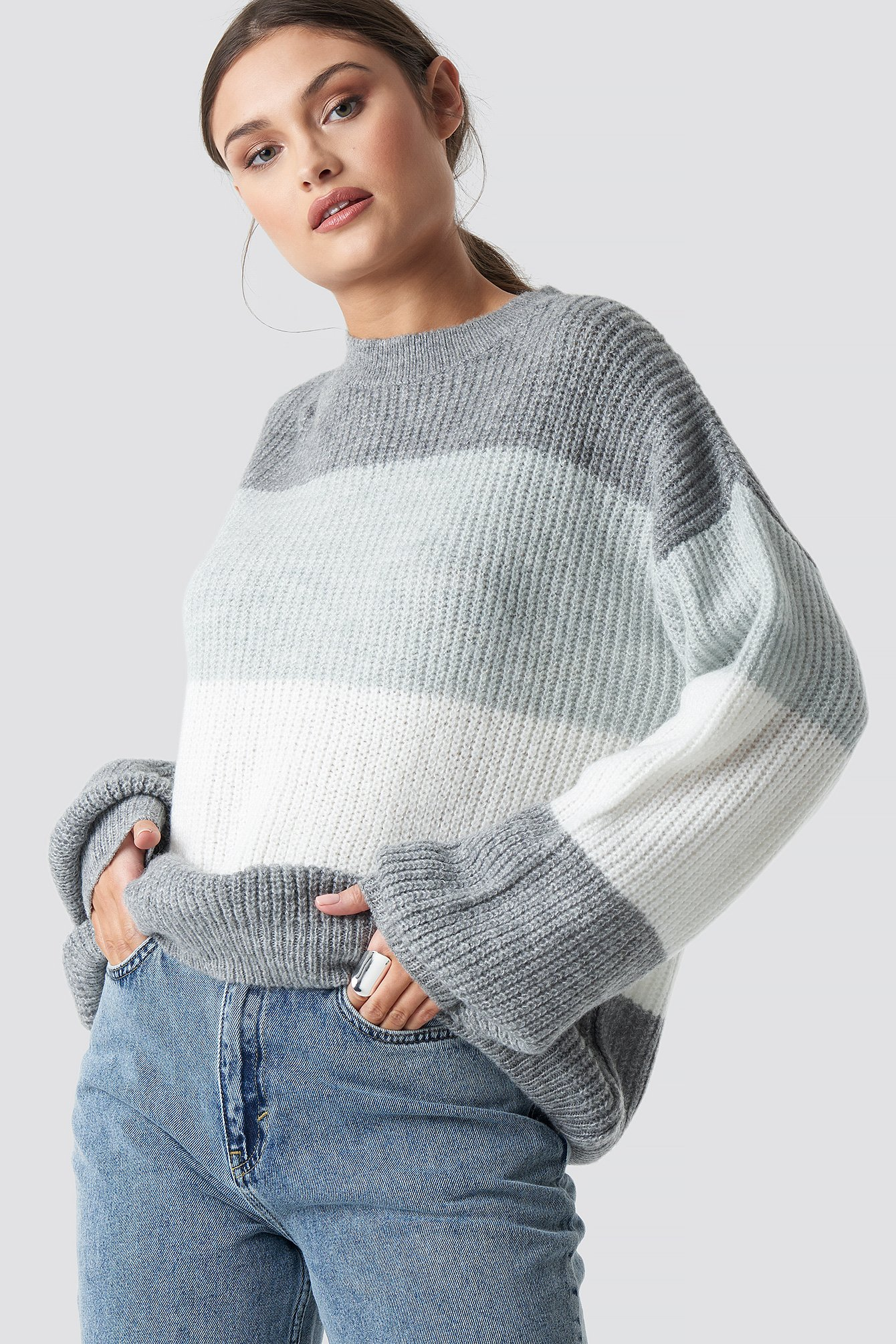 NA-KD Color Striped Balloon Sleeve Knitted Sweater - Grey