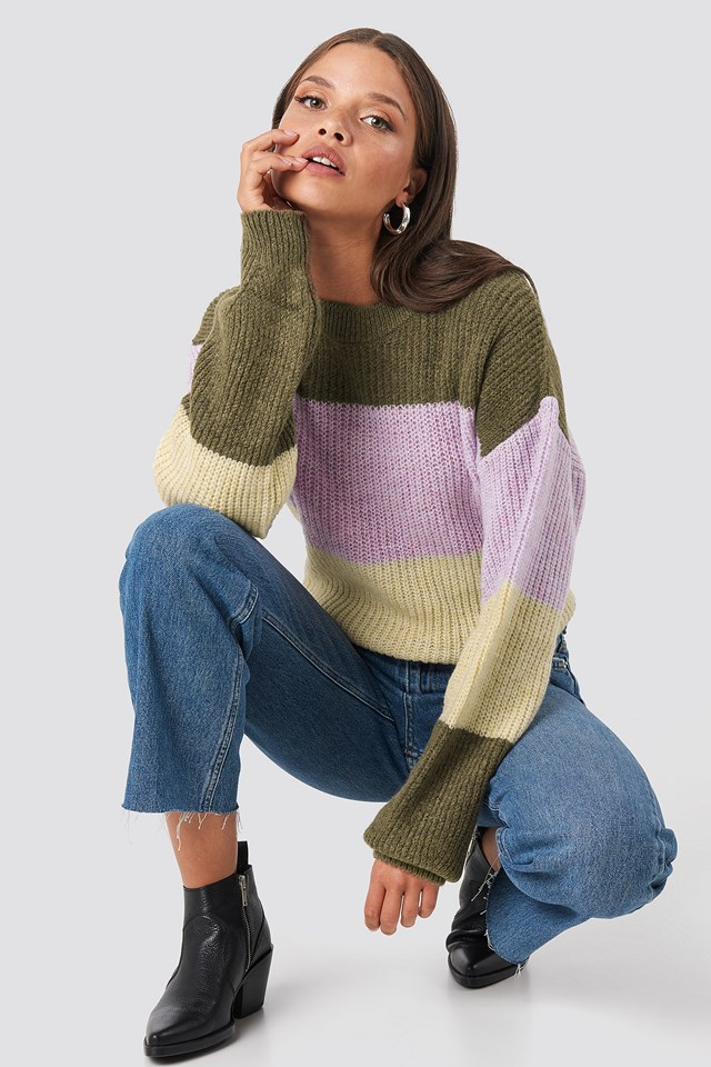 Color Striped Balloon Sleeve Knitted Sweater Brown