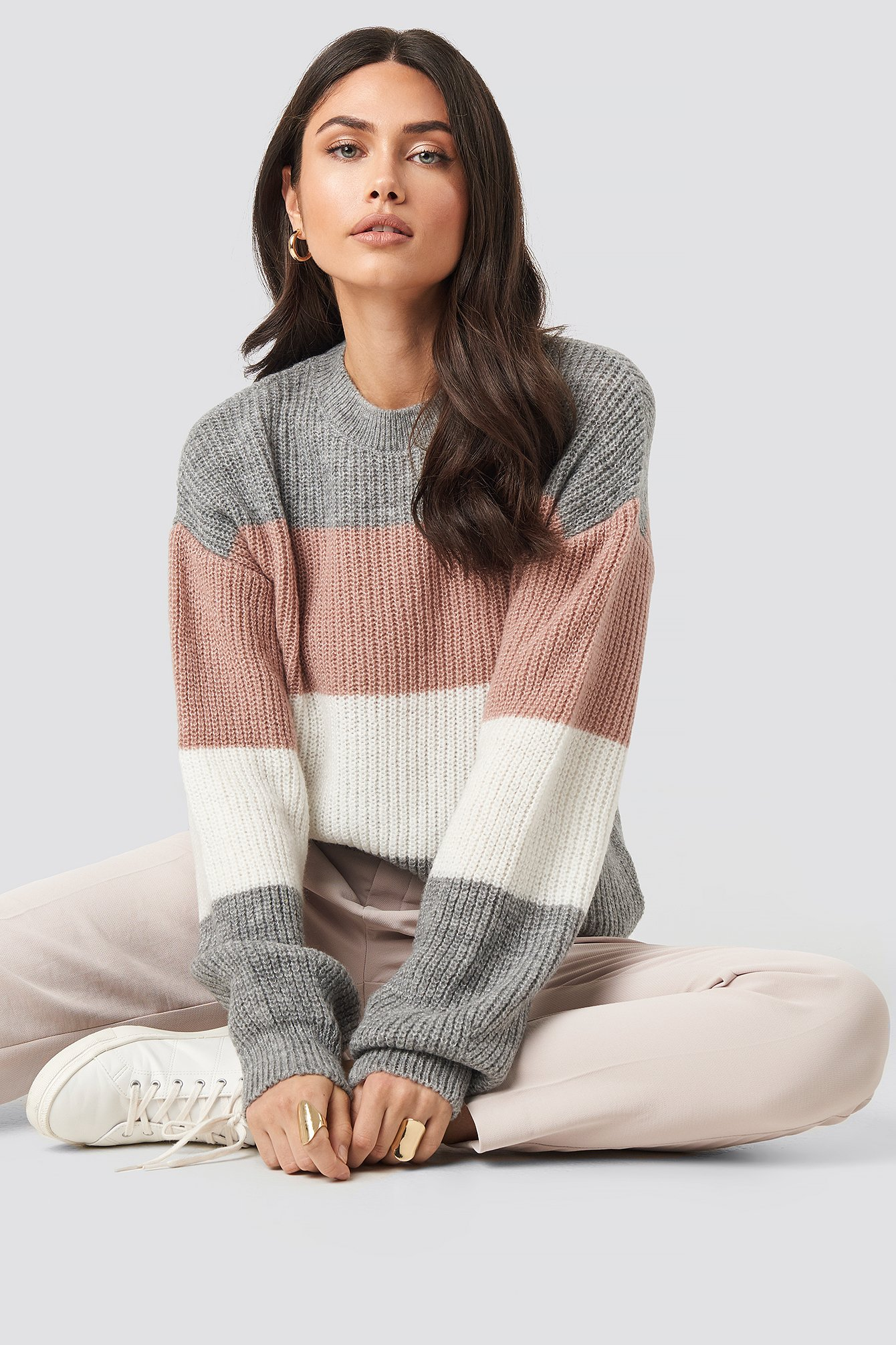 Color Striped Balloon Sleeve Knitted Sweater Mehrfarbig by Na Kd