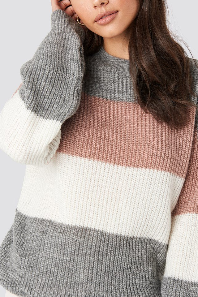 Color Striped Balloon Sleeve Knitted Sweater Pink/White