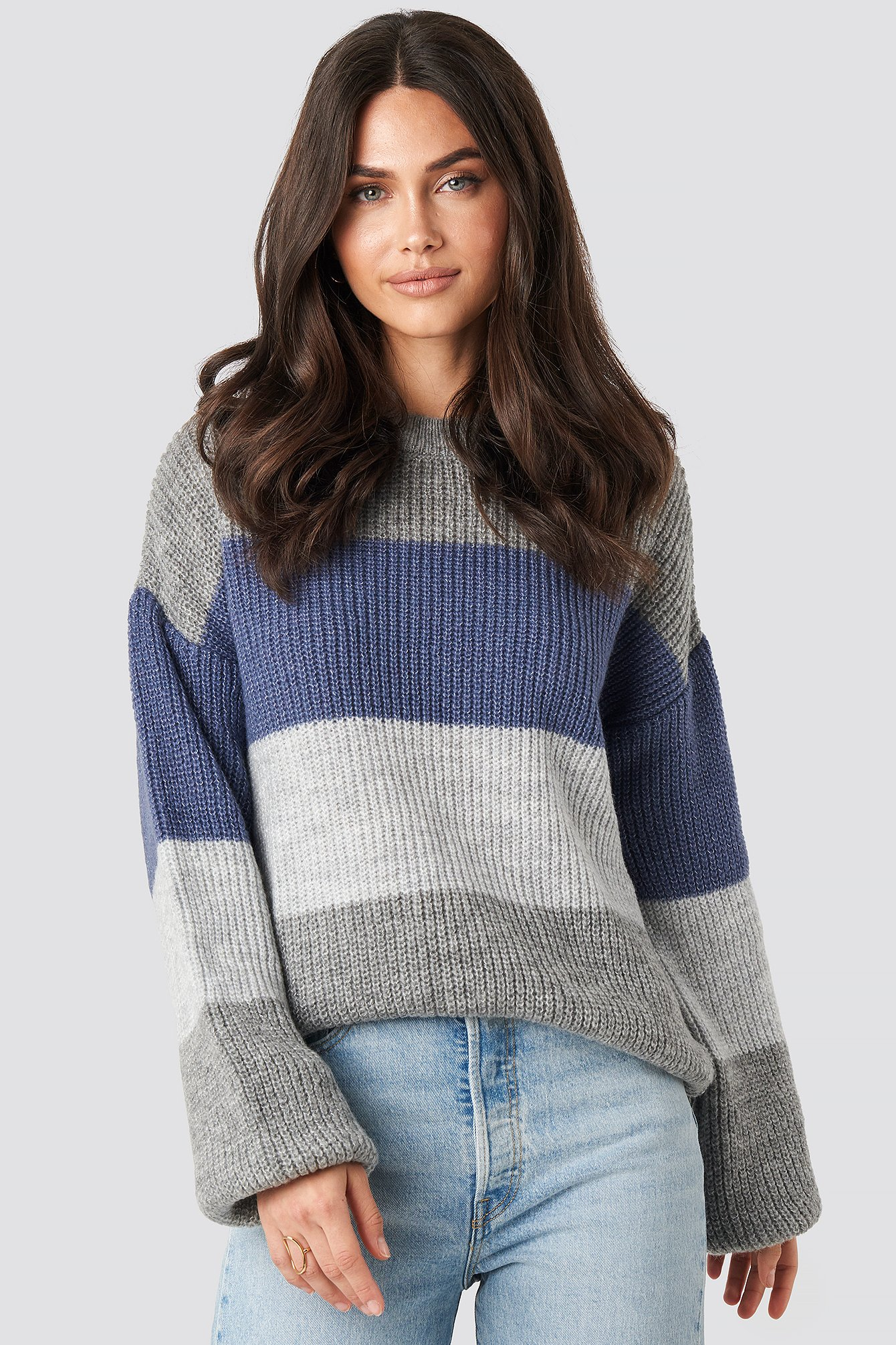 NA-KD Color Striped Balloon Sleeve Knitted Sweater - Grey,Blue,Multicolor