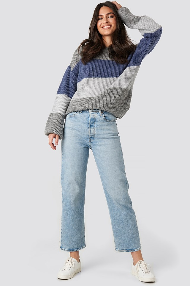 Color Striped Balloon Sleeve Knitted Sweater Grey/Blue