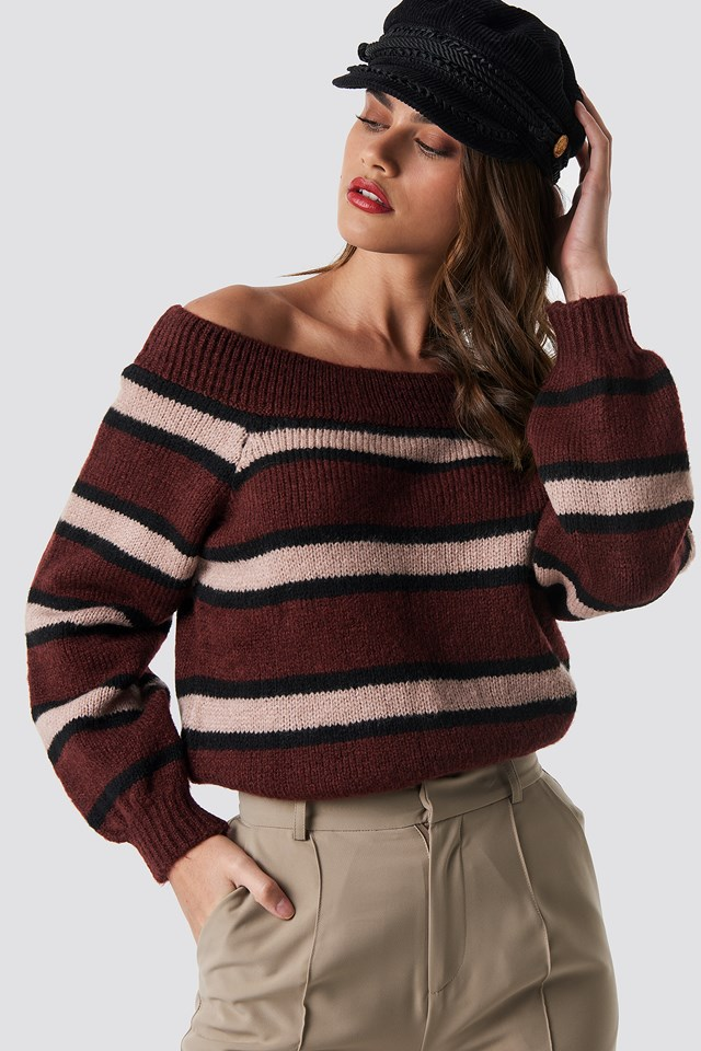 Color Striped Off Shoulder Knitted Sweater Wine