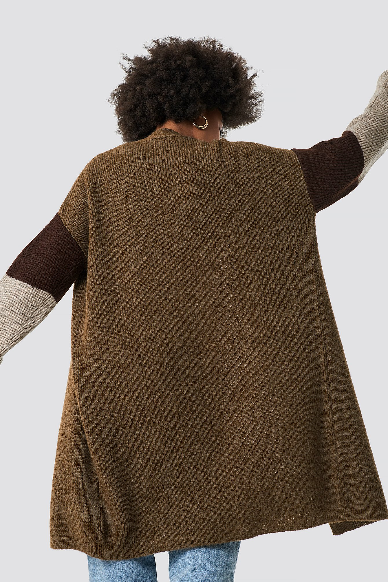 Beige Na Cardigan Blocked Knitted Color zAqPwxHp