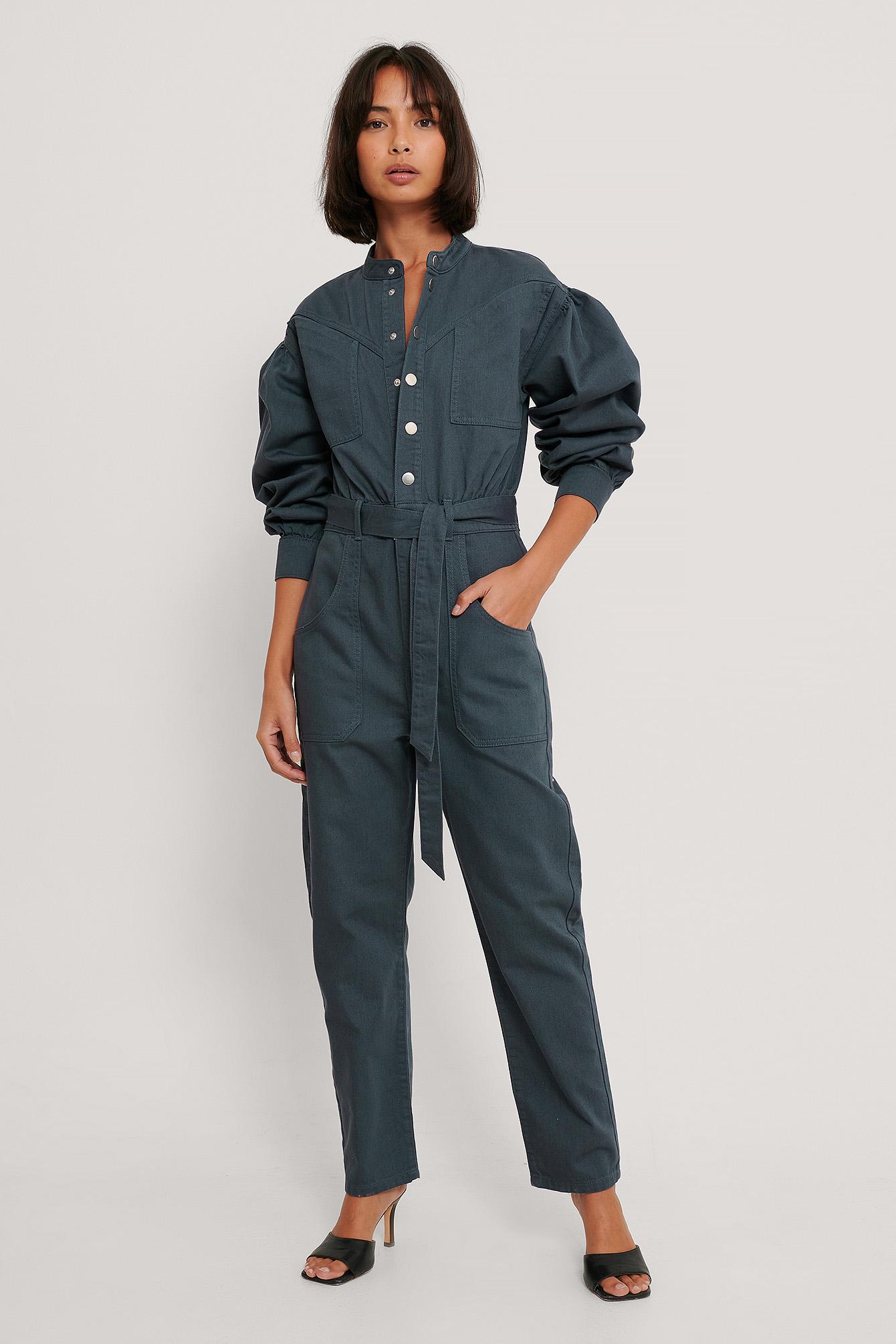 na-kd trend -  Farbiger Jeans-Jumpsuit - Blue