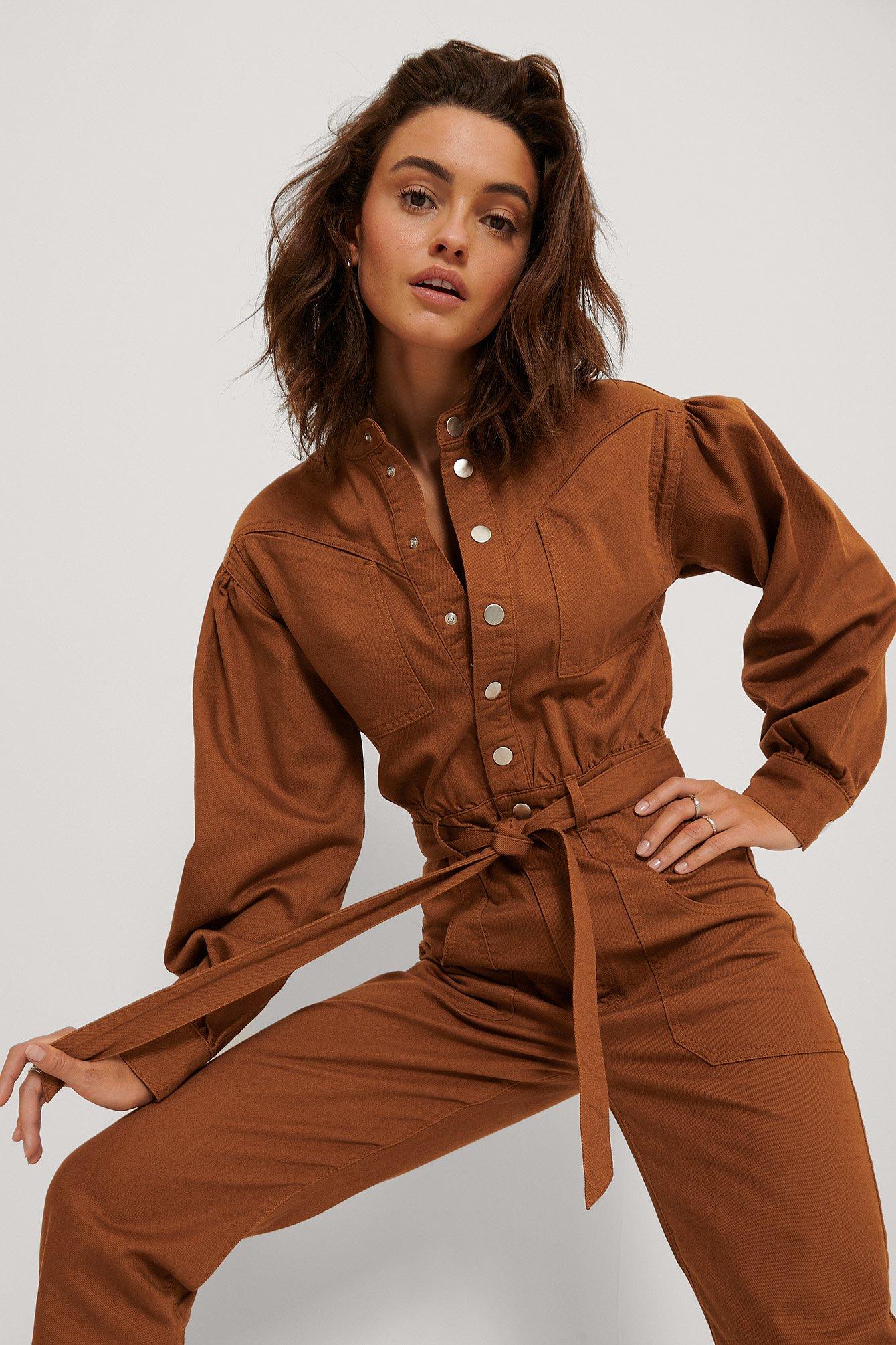 na-kd trend -  Farbiger Jeans-Jumpsuit - Copper