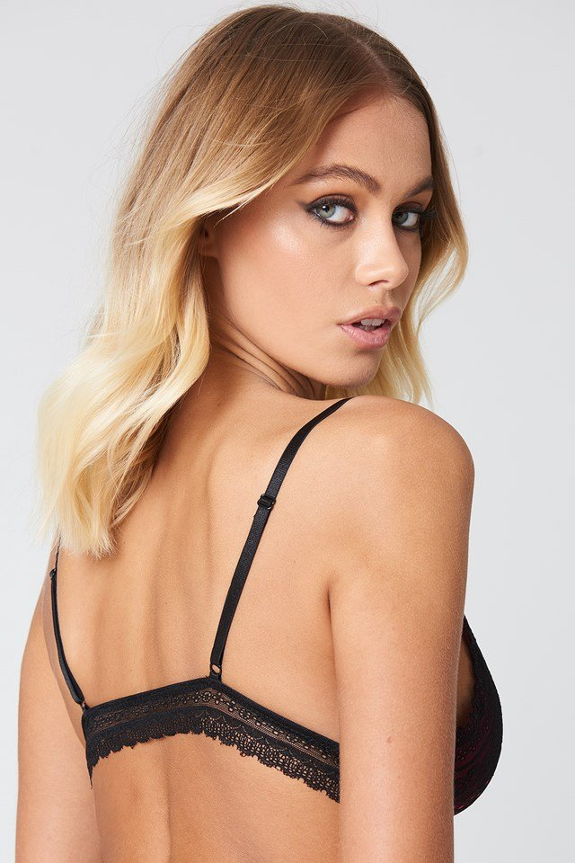 Colored Detail Lace Bra Black/Pink