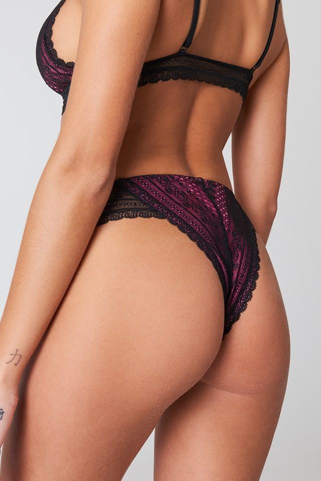 Colored Detail Lace Pantie Black/Pink