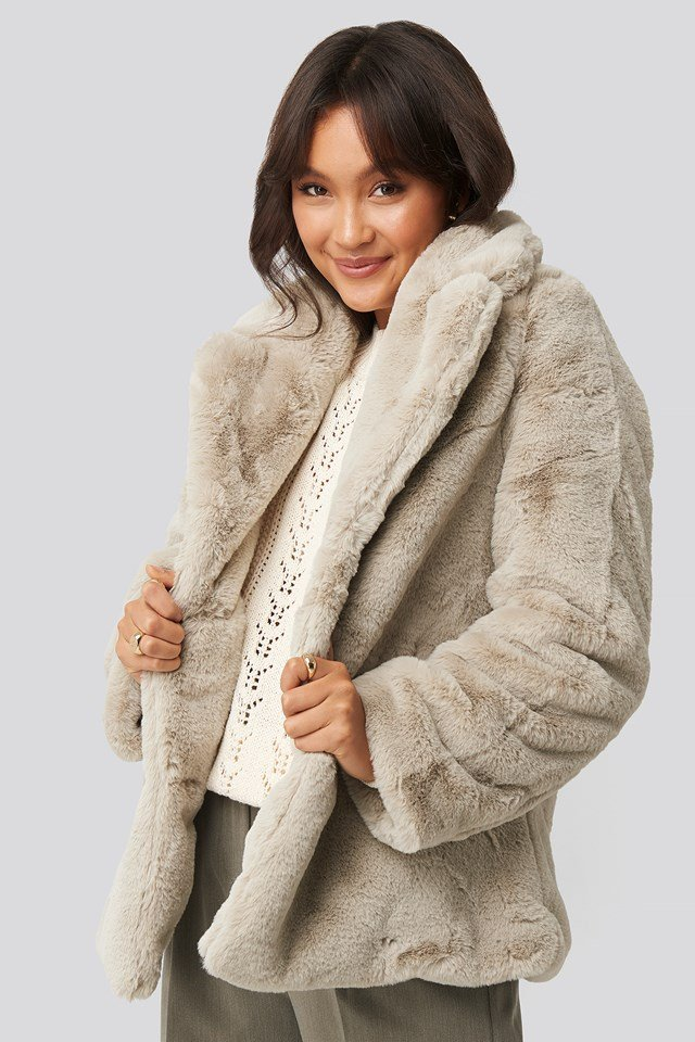 Colored Faux Fur Short Coat Light Beige