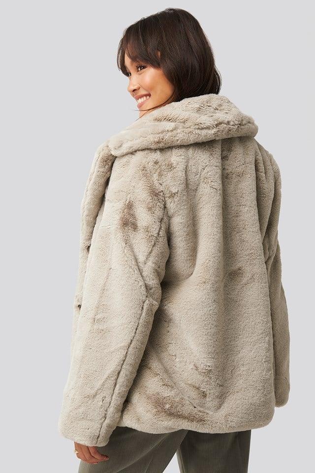 NA-KD Colored Faux Fur Short Coat Light Beige