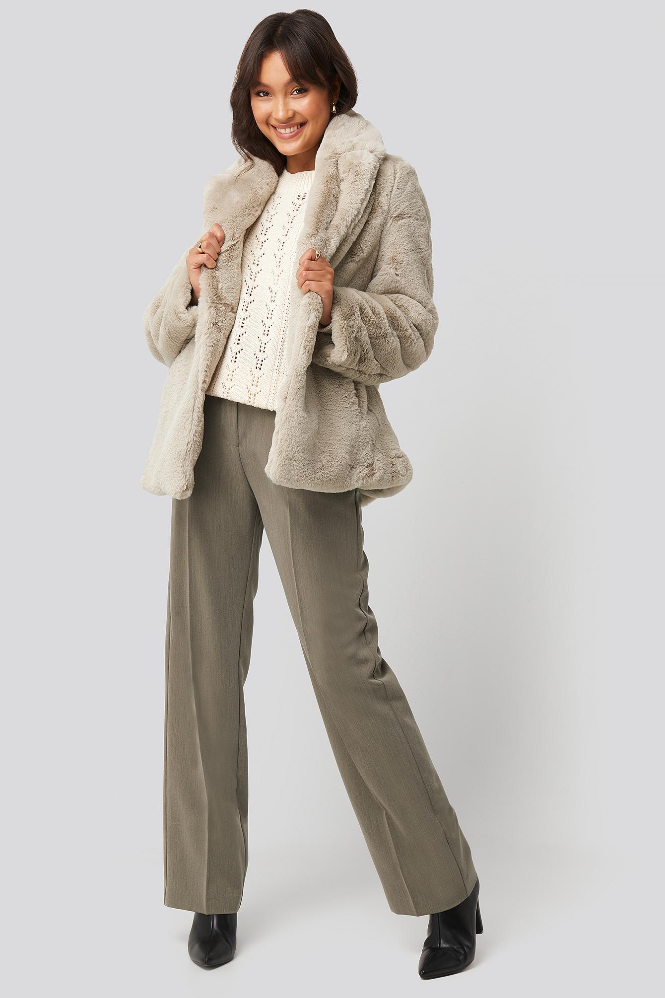 Colored Faux Fur Short Coat Pink   na-kd.com