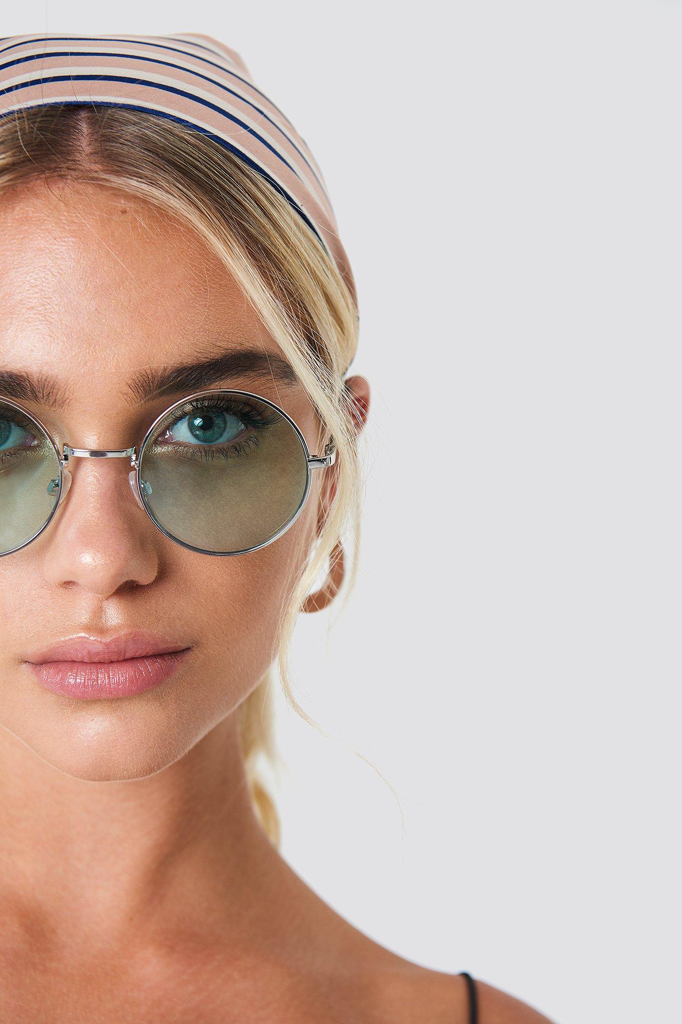 na-kd accessories -  Colored Round Metal Sunglasses - Green,Silver