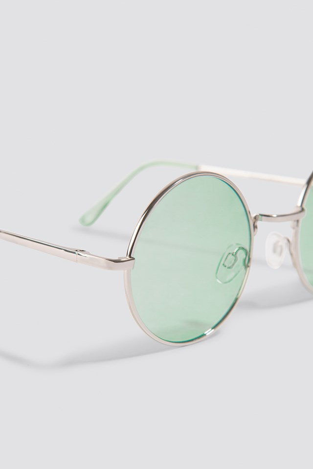 Colored Round Metal Sunglasses Light Green