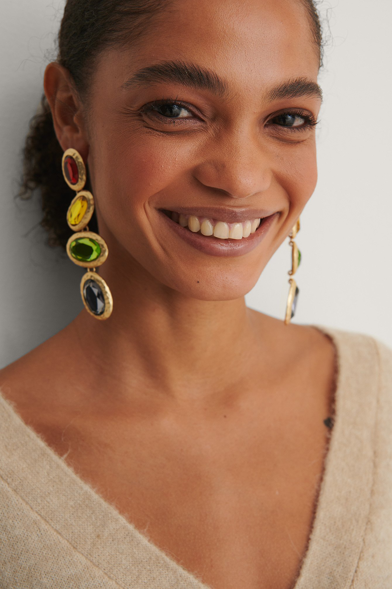Multicolor Colorful Oval Drop Earrings