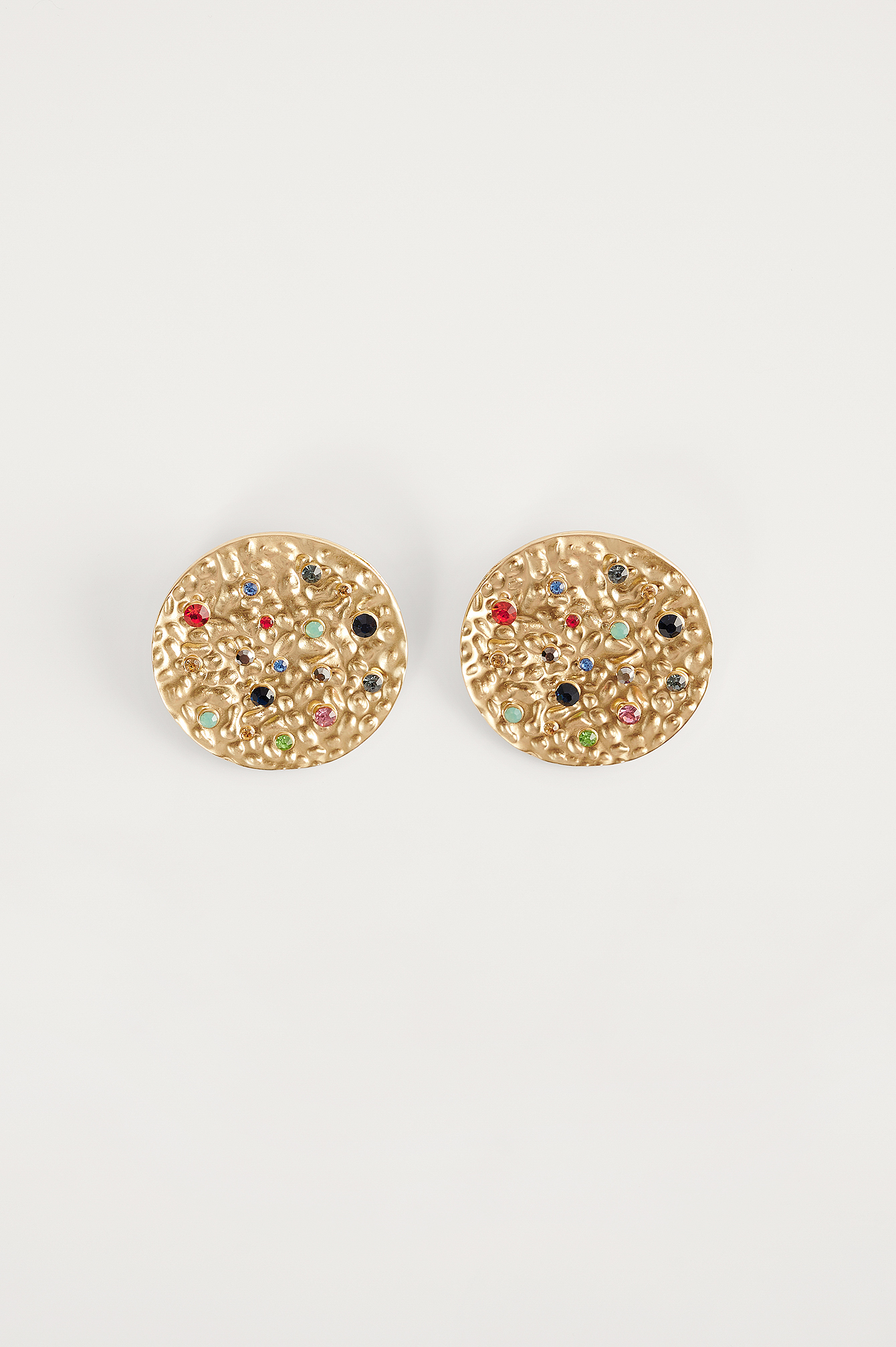 Gold Colorful Stones Plate Earrings