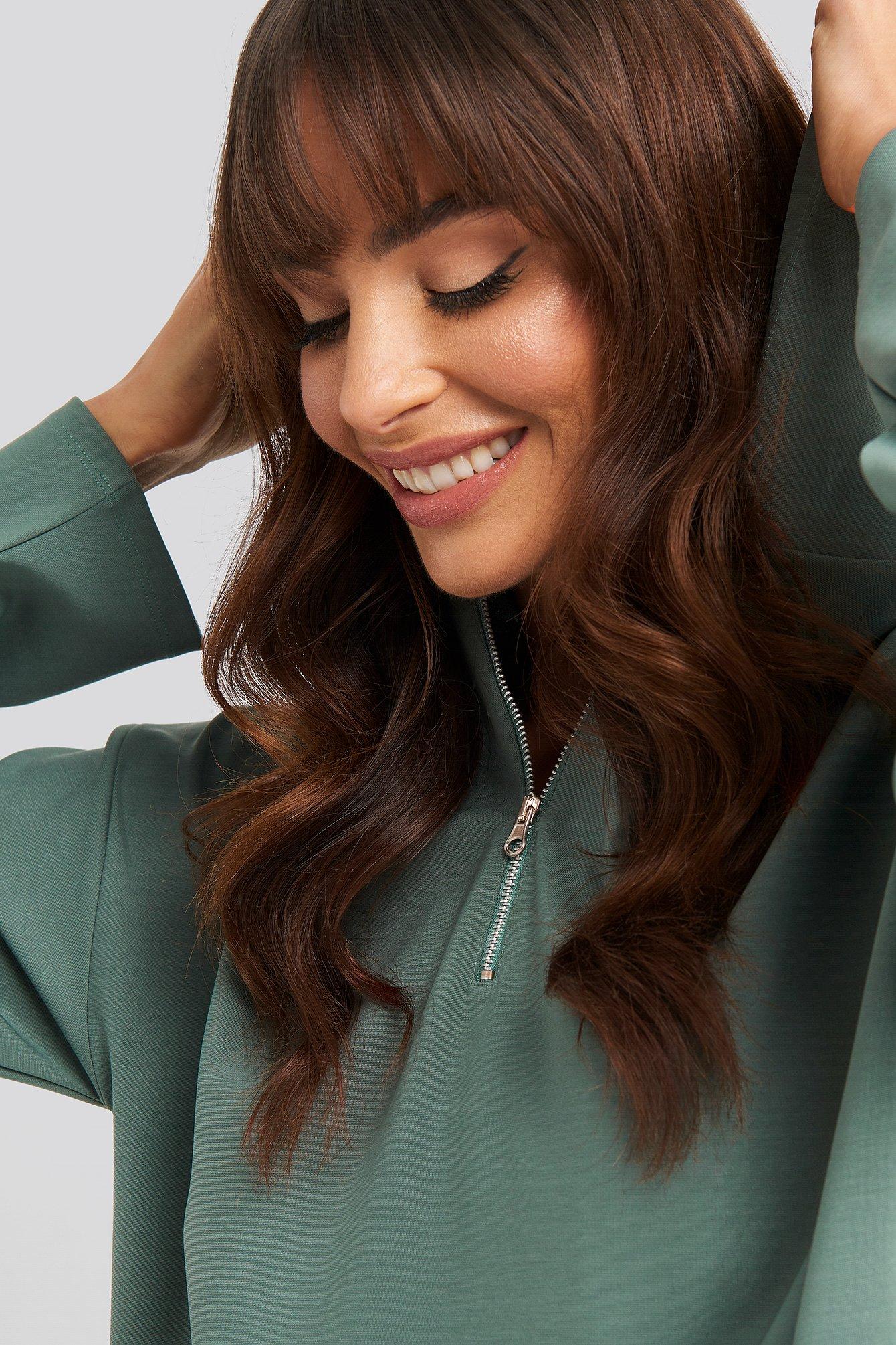 NA-KD Concealed Zip Up Hoodie - Green