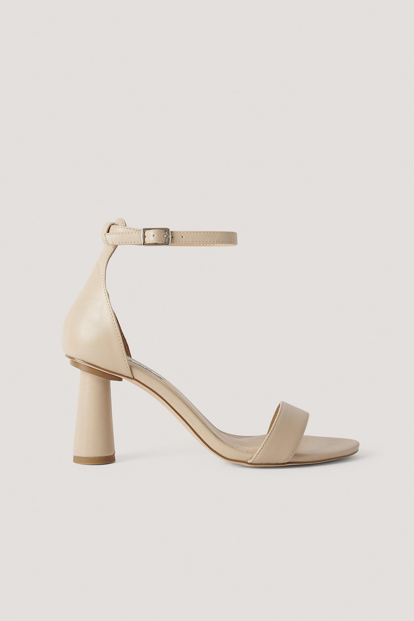 NA-KD Shoes Högklackade Skor Med Remmar - Beige