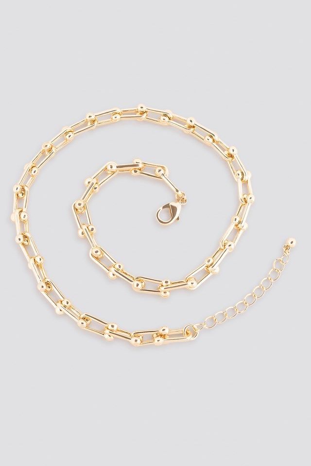 Connected Links Chain Necklace Gold