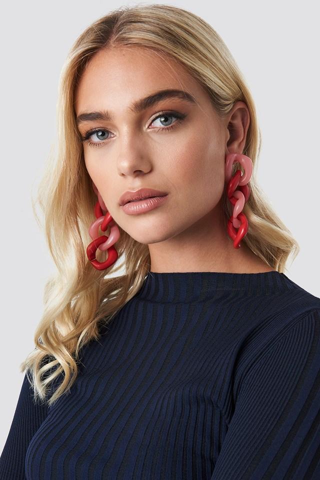 Connected Resin Earrings Pink