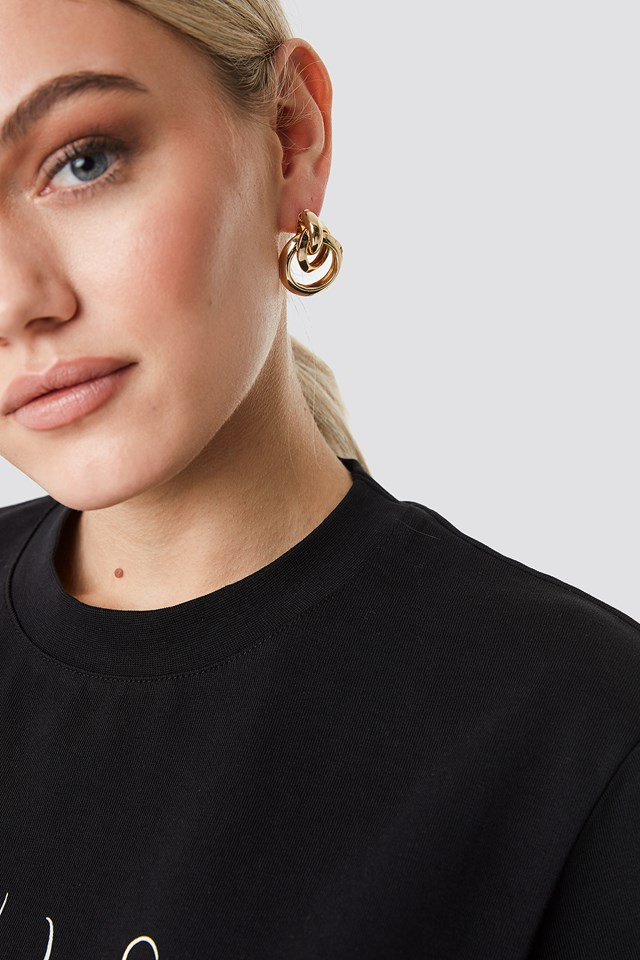 Connected Ring Earrings Gold