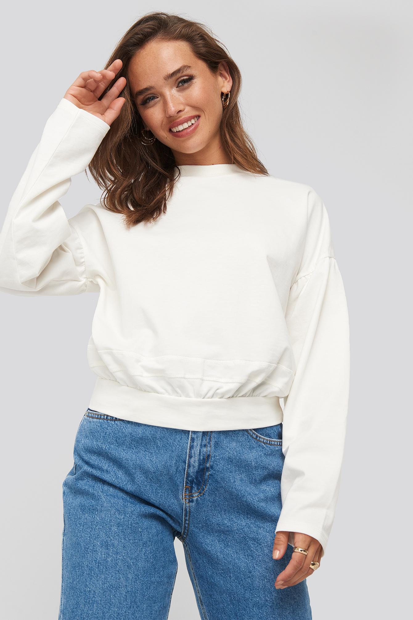 na-kd -  Contour Seam Deatil Sweater - White