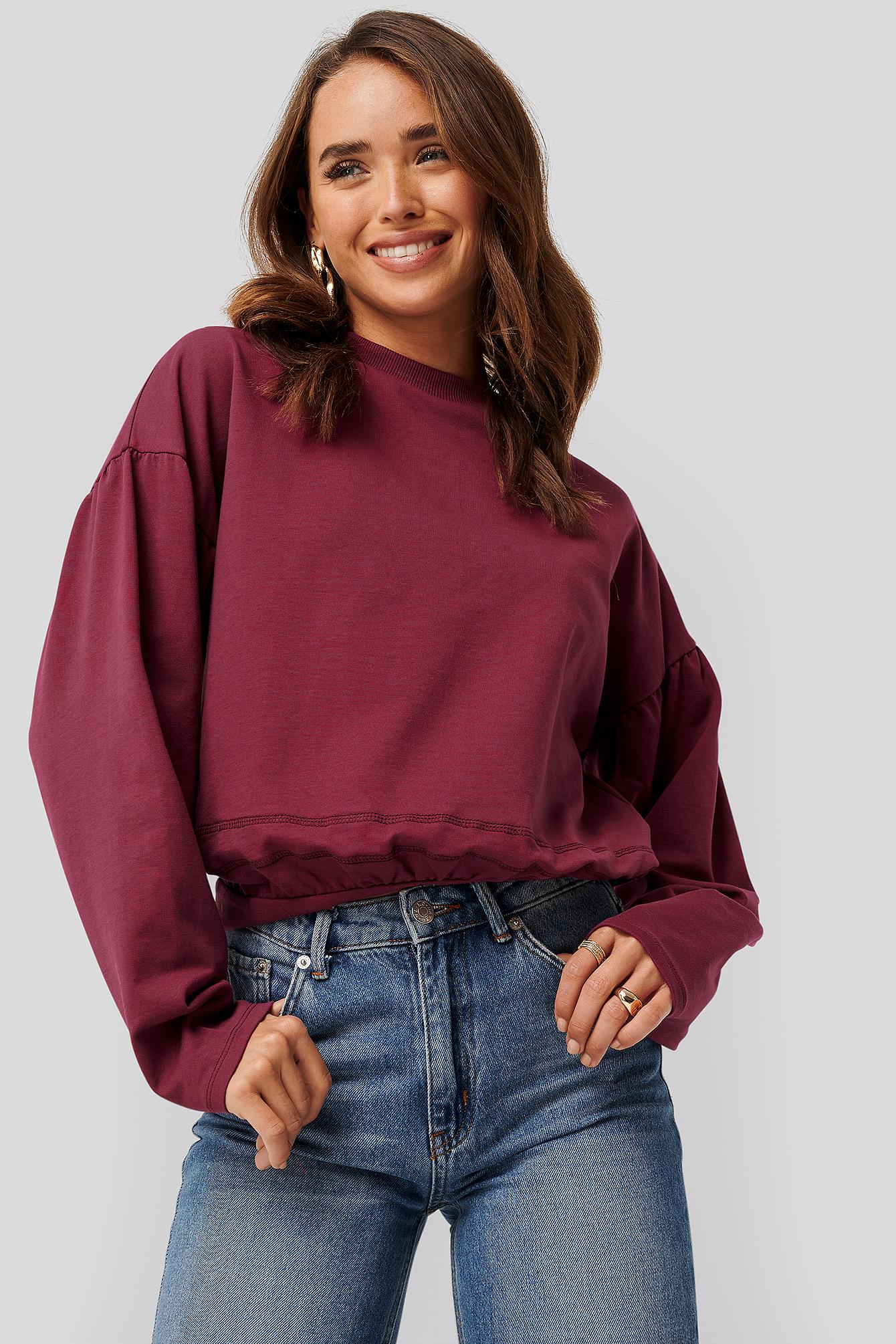 na-kd -  Contour Seam Deatil Sweater - Red