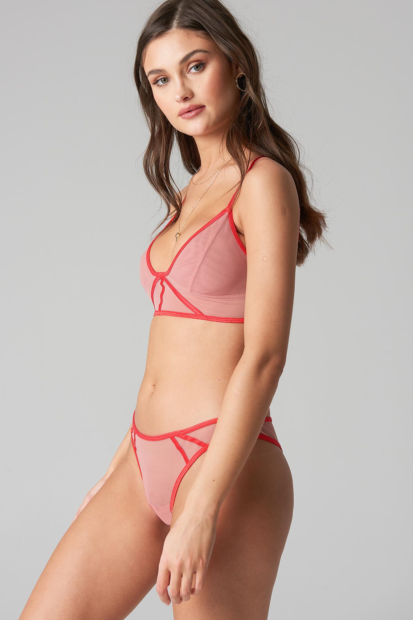 Contrast Binding Mesh Panty NA-KD.COM