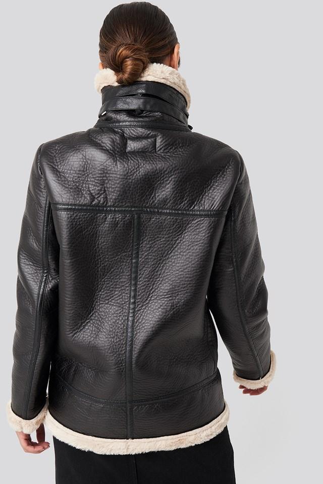 Contrast Bonded Aviator Jacket Black