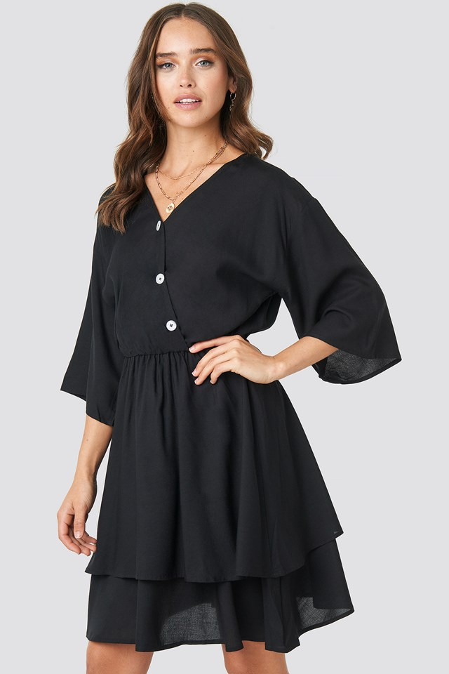 Contrast Button Layered Dress Black