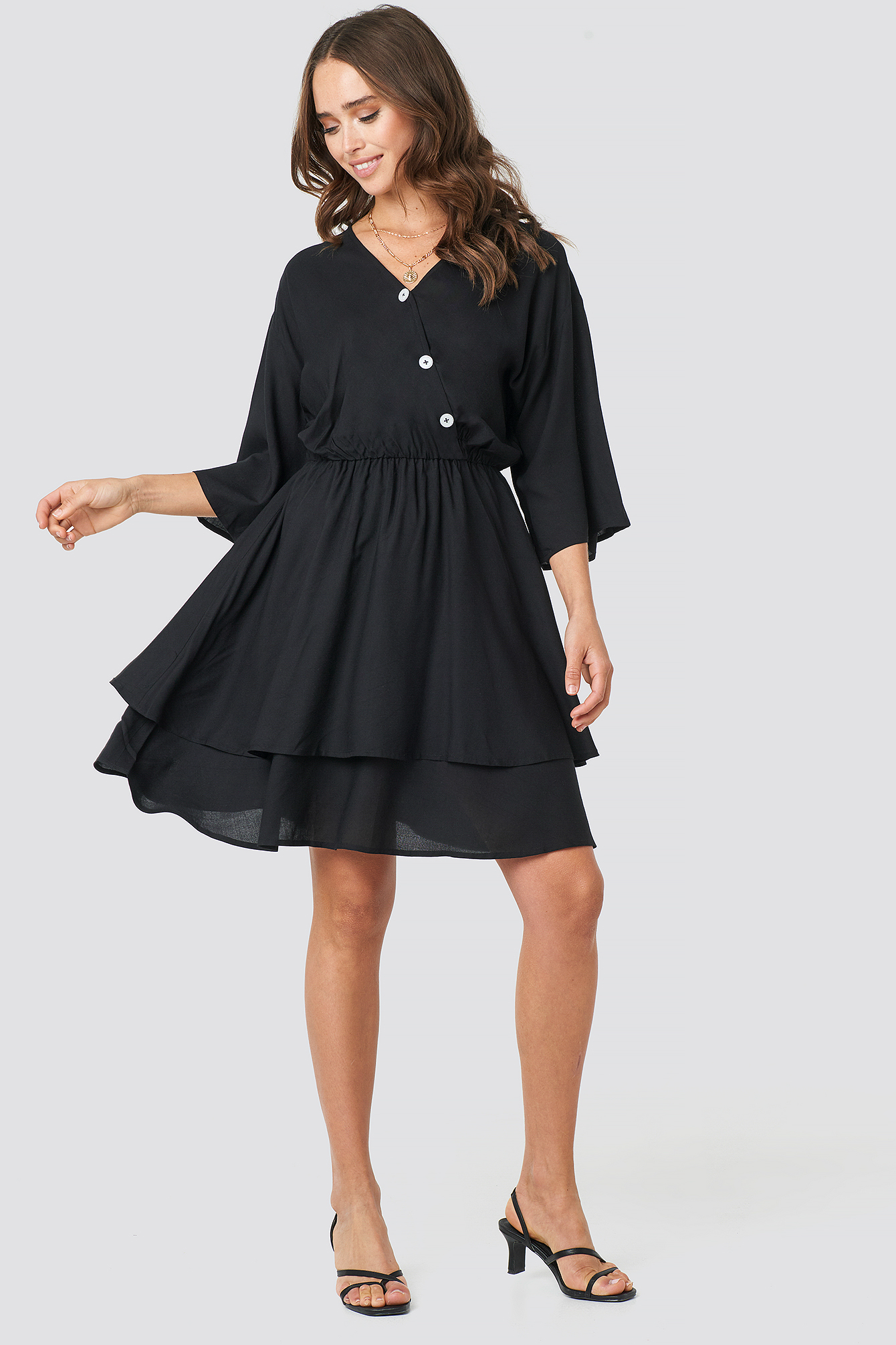 Contrast Button Layered Dress NA-KD.COM